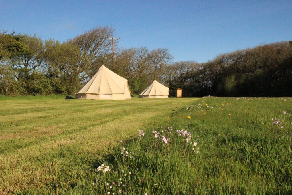 Blue sky and bell tents
