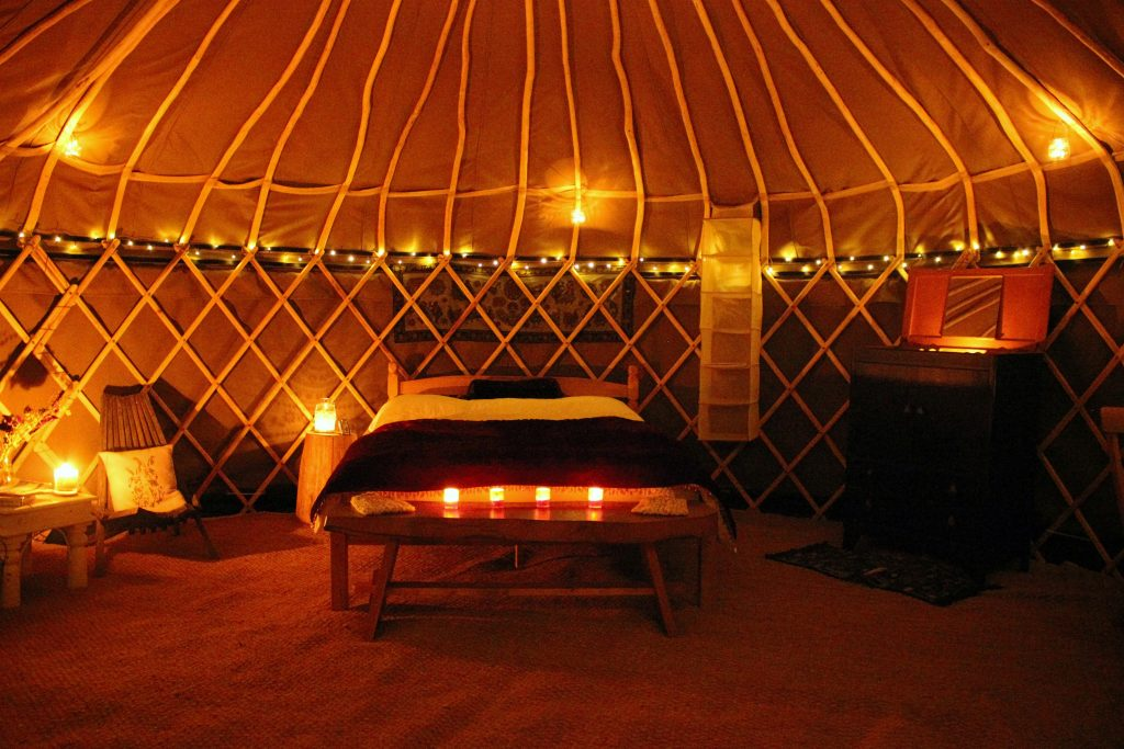 Stargaze at night from the comfort of one of our twinkly yurts