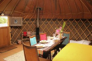 Our handmade yurts accommodate 4 with plenty of room to spare.