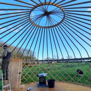 Thank you weather gods for finally giving us two dry and calm days to take down our yurts for winter hibernation. We look forward to the day we put them both up again in the spring... 🤞🤞🤞 #stackpolecamp #yurts #yurtglamping #glamping2021 #handcrafted