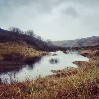 Merepool Valley, all filled up with rain and Scottish-looking. If you've been to Broad Haven South beach but never explored the valley behind the dunes, you're doing it wrong! 😉 (There's usually a footpath here!) #stackpolecamp #broadhavensouth #therainitrainetheveryday #nationaltruststackpole