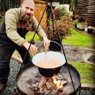 Stan's Christmas wish is that 2021 will be the year we finally get our outdoor kitchen up and running on the campsite. He is planning experimental Christmas Day barbecued turkey (whatever the weather) so here he is testing out the cider brine. Colourful innit? #stackpolecamp #cookingwithfire #outdoorcooking #campfirechristmas #kotlichcooking